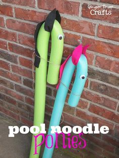 Pool Noodle Ponies: Kids Craft wonder what else would work other than hot glue so that kids could be more involved in making them; need to test out some ideas since these would be good for farm week outdoor play