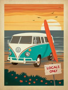 Coastal Collection: Locals Only VW Surf Van Gallery Print beach-style-fine-art-prints