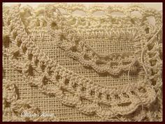 Crocheting on the edge of burlap.  Test pieces for the edge stitch shown on top.  This was fun!