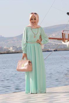 pastel color maxi dress modest mint green peach hijab .http://abayatrade.com