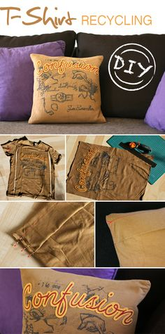 Turn an old T-shirt into a cushion cover (blog is German but has a 'Translate' button in the sidebar) and the pix are very clear: http://gingeredthings.blogspot.de/2012/06/kissenhulle.html