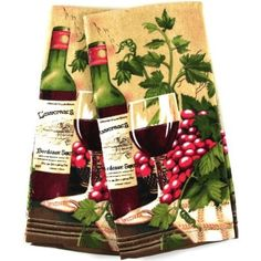 Amazon Com Wine Themed Kitchen Towel Velour Kitchen Towel Set Of 2
