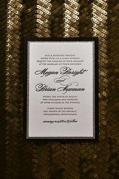 Glitter wedding invitations, black tie wedding, black and white wedding, silver glitter wedding invitations