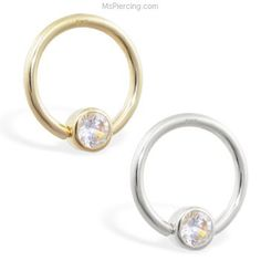 14K real gold captive bead ring with Cubic Zirconia on MsPiercing