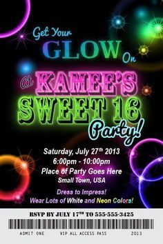 Glow Party Invitation Ideas | Glow In The Dark Party Ideas