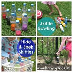 DIY Skittles & Games - Simple and fun games to play with the kids.  {learning4kids.net}