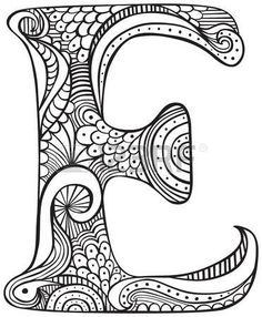 Hand drawn capital letter E in black - coloring sheet for adults