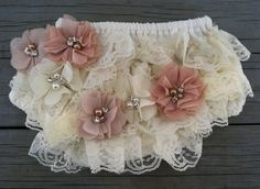 The Ivory Lace Shabby Chic Chiffon Flower Diaper Cover/Bloomer Set/Headband
