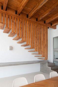 Concrete  Wood Stairs, Beach House in San Salvador, El Salvador