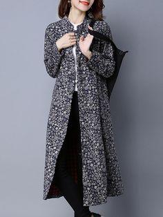 Sale 22% (30.49$) - Folk Style Printing Plate Buckle Stand Collar Long Sleeve Coats