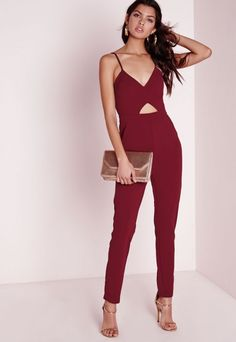 Strappy Cut Out Jumpsuit Burgundy - Jumpsuits - Missguided
