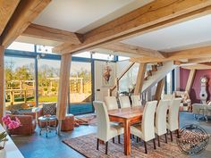 A new self build modern wood frame house, built using sustainable materials and features state of the art eco technology. More on modern wood frame houses. Wood Frame House, Wooden House, Timber Frame Homes, Timber House, Timber Architecture, Floor To Ceiling Windows, Open Plan Living, House In The Woods, New Homes