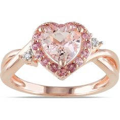 Morganite Pink Tourmaline and Diamond-Accent Pink Rhodium-Plated Sterling Silver Heart Ring, Women's, Size: 5 Sterling Silver Jewelry, Gold Jewelry, Jewelry Rings, Fine Jewelry, Jewelry Watches, Silver Bracelets, Silver Rings, Jewellery, Ring Set