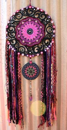 Mandala wall hanger Mixed Media Textile Art by RavenshiresRealm