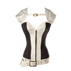 Cream+and+Brown+Floral+Detailed+Overbust+Corset+with+Jacket