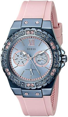 GUESS Women's Sporty Blue Stainless Steel Watch with Multi-function Dial and Pink Strap Buckle Cute Watches, Elegant Watches, Stylish Watches, Beautiful Watches, Luxury Watches, Rolex Watches, Watches For Men, Analog Watches, Ladies Watches