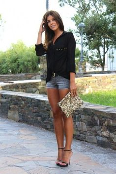LoLoBu - Women look, Fashion and Style Ideas and Inspiration, Dress and Skirt Look Date Outfits, Short Outfits, Summer Outfits, Casual Outfits, Summer Date Night Outfit, Club Outfits, Casual Shorts, Sexy Night Outfit, Sexy Date Outfit