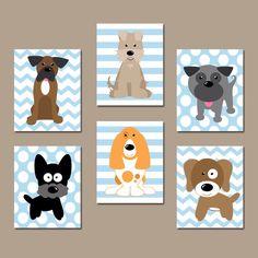 DOG Nursery Wall Art, CANVAS or Prints, Baby Boy Nursery Artwork, Puppy Art, Boy Bedroom Decor, Dog Theme, Dog Pictures, Set of 6 Boy Decor by TRMdesign on Etsy https://www.etsy.com/listing/114055782/dog-nursery-wall-art-canvas-or-prints
