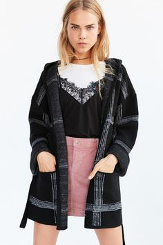 OBEY Flynt Plaid Wrap Sweater Coat