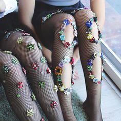 2db5734a18 Flowery Tuesday in  lirikamatoshi  embroidery  fishnettights (shop link in  bio) . Meia CalçaCollants ...