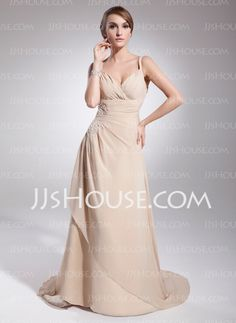 A-Line/Princess Sweetheart Chapel Train Chiffon Mother of the Bride Dress With Ruffle Beading (008014574) - JJsHouse