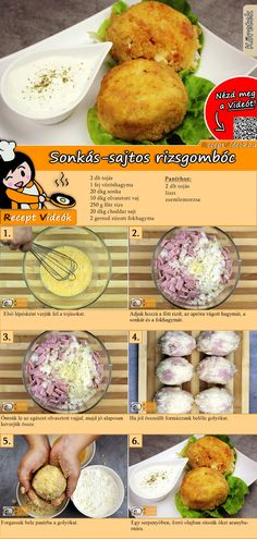 Sonkás-sajtos rízsgombóc recept elkészítése videóval Healthy Food Options, Healthy Recipes, Yummy Food, Good Food, Food Humor, Perfect Food, Diy Food, Hungarian Recipes, Food Dishes