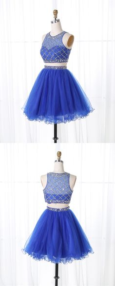 Two Piece Royal Blue Short Homecoming Dresses, 2 Piece Short Prom Dresses, Simple Beaded Short Homecoming Dresses