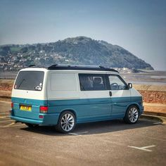 What a great view of North Hill in Minehead, and a good opportunity for a - VW Busse - Auto Volkswagen Transporter T2, Vw T4 Syncro, Transporter Van, Volkswagen Bus, Vw Conversions, T4 Camper, Der Bus, Cool Vans, Bugatti Cars