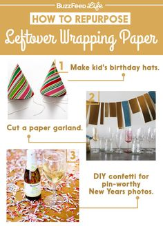 Three creative ways to recycle leftover wrapping paper.