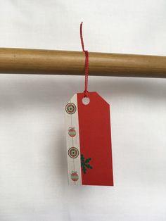 Red name tag with Christmas ornamet and green snowflakes. Christmas Settings, Name Tags, Gift Bags, Christmas Time, Snowflakes, Create Yourself, Etsy Seller, Handmade Gifts