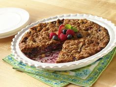 Easy pie? With no crust to roll, this buttery streusel topped berry dessert is a winner.