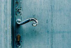 France secret shabby blue door  turquoise teal  - So blue - analog fine art print 5 x 7 inches. $20.00, via Etsy.