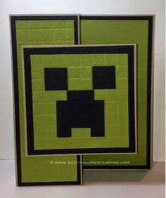 Minecraft Creeper Punch Art Birthday card using Stampin' Up! products by Emily M… - Everything About Minecraft Minecraft Cards, Minecraft Birthday Card, Birthday Cards For Boys, Art Birthday, Lego Minecraft, Birthday Ideas, Happy Birthday, Boy Cards, Kids Cards