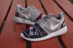 072fe40a1b29 Nike Roshe Run Grey White New England Patriots V5 by NYCustoms New England Patriots  Shoes