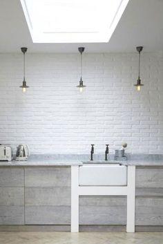= white bricks, grey wood and white = style.life.home blog