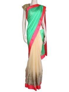 G3fashions Splendid satin green half and half saree Products price: ₹ 13,480.00 Products code:  G3-WSA1487