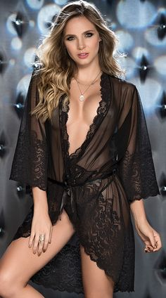 This romantic black robe features sheer, 3/4 length sleeves with a thick lace trim, a sheer bodice with a scalloped lace trim, a satin waist tie, and a matching panty. Twilight Romance Robe Set, mesh and lace robe set - Yandy.com