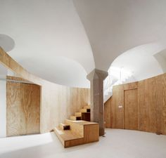 In under 55 square meters, architecture studio Raul Sanchez Architects has reimagined a subterranean space in Barcelona as a minimal, light-filled home—'Apartment Tibbaut'. Madrid Apartment, Penthouse Apartment, Contemporary Architecture, Architecture Details, Interior Architecture, Interior Design, Raul Sanchez, Minimal Apartment, Pine Walls