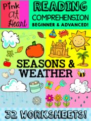 Happy February GIVEAWAY! - These are great READING COMPREHENSION activities--28 worksheets!  See my store for more fun products and TONS OF FREEBIES!  Good luck!.  A GIVEAWAY promotion for Reading Comprehension Worksheets: Seasons and Weather from Pink at Heart on TeachersNotebook.com (ends on 2-28-2016)