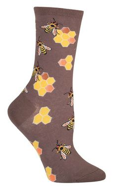 Did you know bees communicate with each other by dancing and wiggling their bodies? You can do the same thing in these super unique animal socks covered in bustling bees, surrounded by their favorite Crazy Socks, Cool Socks, Awesome Socks, Unique Socks, I Love Bees, Funny Socks, Silly Socks, Sock Animals, Busy Bee