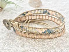 Peach Sea Glass Bracelet - Beaded Leather Wrap Bracelet - Beige Leather - Surf Jewelry Beachy Bracelet Surf Bracelet Surf Chic by PinaHina on Etsy https://www.etsy.com/listing/278630958/peach-sea-glass-bracelet-beaded-leather