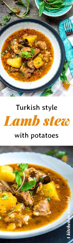 Turkish style lamb stew with potatoes - recipe / A kitchen in Istanbul - Turkish Recipes Easy Lamb Recipes, Potato Recipes, Cooking Recipes, Batch Cooking, Savoury Recipes, Oven Recipes, Turkish Recipes, Greek Recipes, Ethnic Recipes