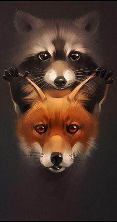 ☆ Fox and Racoon :¦: By Artist Alexandra Khitrova ☆