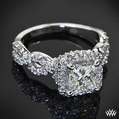 Custom 4 Prong Cushion Halo Diamond Engagement Ring