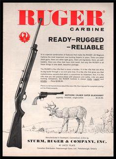 1962 RUGER .44 Magnum Carbine Rifle Vintage AD : Other Collectibles at GunBroker.com