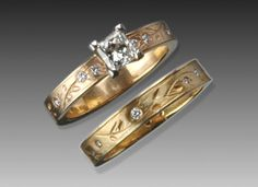 Imagine #21: Hand-Carved Botanical Rings 18k yellow gold, engagement 3.5mm wide with .08ct tiny diamonds.