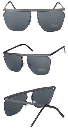 8a13c075e3a Semi-Rimless Oversized Square Framed Sunglasses Gun Grey Gray Sunglass  Frames