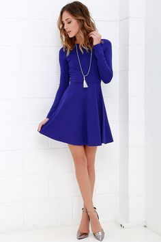 Forever Chic Royal Blue Long Sleeve Dress at Lulus.com!