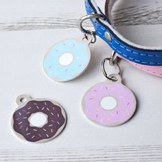 Donut Pet Id Tag personalised dog doughnut name tag от WeLovePets