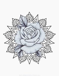 Thus but with a peony instead of a rose Baby Tattoos, Rose Tattoos, Leg Tattoos, Flower Tattoos, Sleeve Tattoos, Tattoo Sketches, Tattoo Drawings, Tattoo Mandala Feminina, Rose Stencil